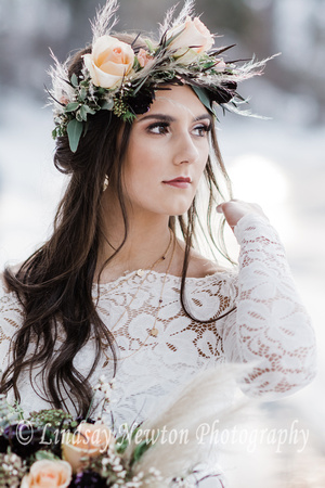 Gorgeous flower crown on model during our winter engagement styled photo session at Scout Lake, Oregon.