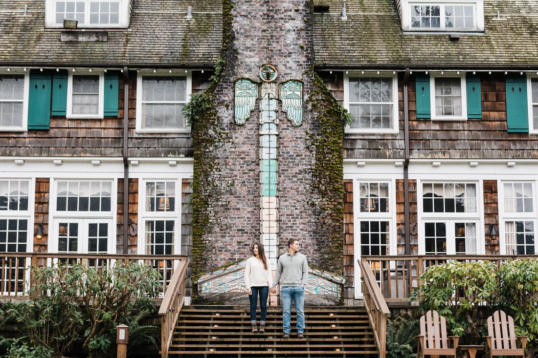 Engaged couple at Lake Quinault Lodge in the winter