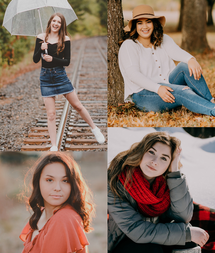 High school senior portraits in different seasons in Oregon
