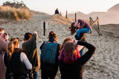 a group of photographers at a shootout on the Oregon coast.