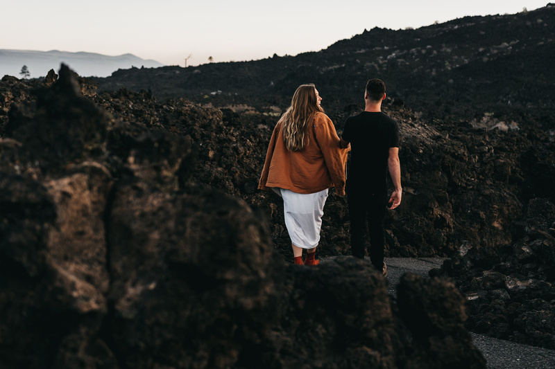 Adventure engagement sunrise session at the Newbury Lava Fields in Bend, Oregon.