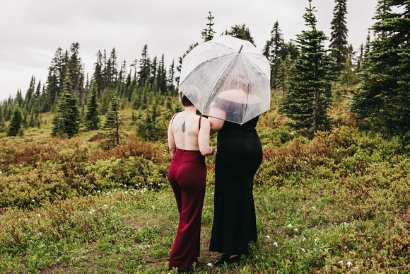 Rainy Mount Rainier Engagement Session. Lesbian engagement. Same sex engagement photos.