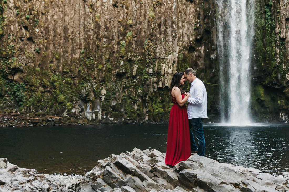 Engagement session at Abiqua Falls, Oregon. Waterfall engagement session. Adventure engagement session.
