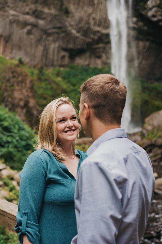 Engagement session at Latourell Falls, Oregon. Waterfall engagement session. Adventure engagement session.