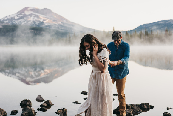 Adventure Engagement Sunrise Session at Sparks Lake.