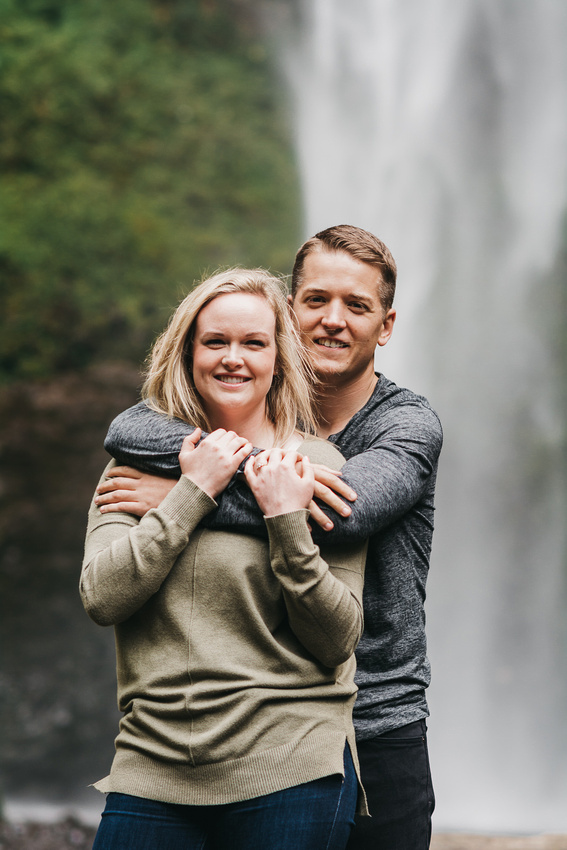 Columbia Gorge Engagement Session. Latourell Falls and Government Cove. Engagement Photos, Adventure Engagement, Waterfall Engagement Session, Engagement Photo Session