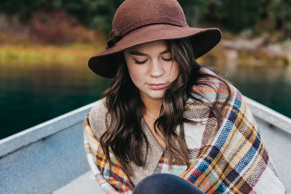 Senior Adventure Session at Clear Lake during the fall in Oregon.