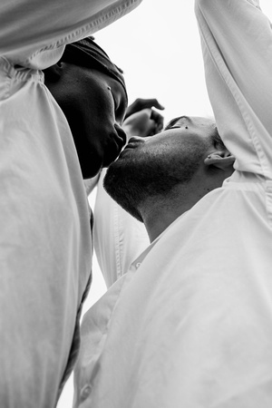 Gay mens couple session in the rain at Champoeg State Park in Oregon